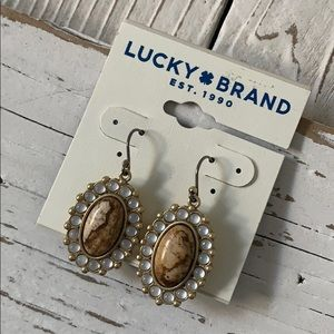 LUCKY BRAND  Set Stone Drop Earrings Gold Tone NWT
